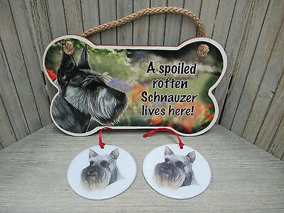 "Schnauzer - ""Spoiled Rotten"" Dog Bone Sign & 2 Ceramic Ornaments"