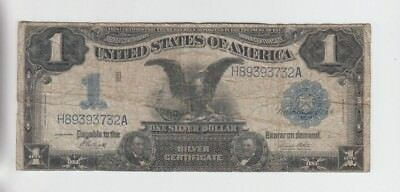 Silver Certificate $1 1899 Black Eagle vg-f stains,small edge tears, hole
