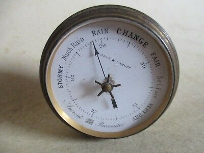 Small Antique Aneroid Barometer For Parts/repair