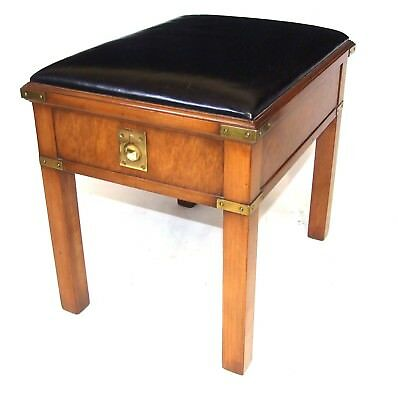 KENNEDY Antique Military Campaign Style Mahogany Piano Foot Dressing Table Stool