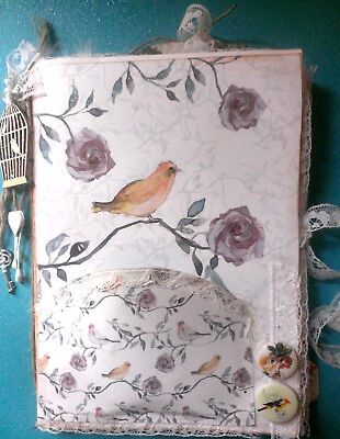 altered art mixed media 10 page junk journal diary bird theme embellished OOAK