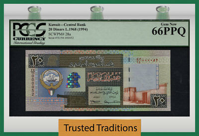 TT PK 28a 1968 (1994) KUWAIT CENTRAL BANK 20 DINARS PCGS 66 PPQ GEM NEW!