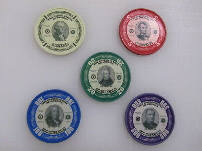 US Presidents Poker Chip Collector Set of 5 Washington Lincoln Casino