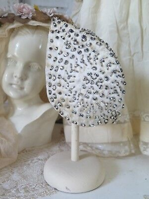 Frankreich 20s  ANTIK glass beaded Childrens Flapper BONNET  HUT Kinder  SHABBY