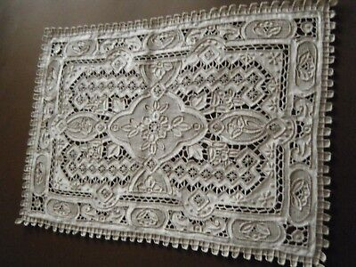 18c Antique Topper raise Emb/ery needle lace drawn &cut work Ponto artico Italy