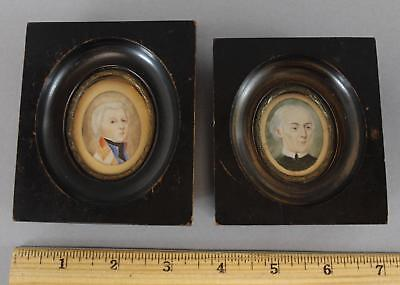 Antique 19thC Fik Art Miniature Portrai Gentlement Paintings Ebonized Frames