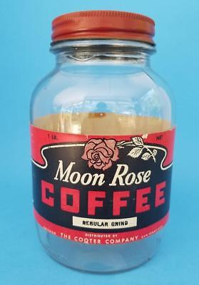 Vintage MOON ROSE COFFEE Jar 1 lb The Cooter Co. San Francisco CA & Chicago IL
