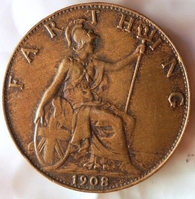 1908 GREAT BRITAIN FARTHING - Excellent Coin - FREE SHIP - Farthing Bin