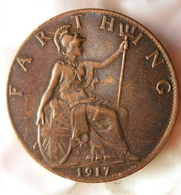1917 GREAT BRITAIN FARTHING - Excellent Coin - FREE SHIP - Farthing Bin