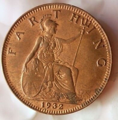 1932 GREAT BRITAIN FARTHING - Excellent Coin - FREE SHIP - Farthing Bin
