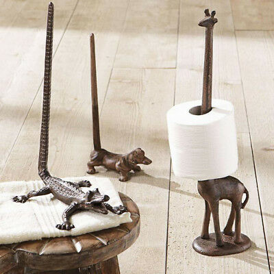 Animal Paper Towel Holder Toilet Roll Stand Cast Iron Bronze Rustic Bath Decor