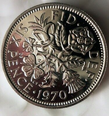 1970 GREAT BRITAIN 6 PENCE - PROOF - Low Mintage Rare Coin - Lot #M15