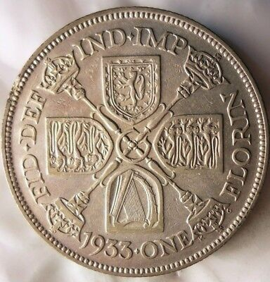 1933 GREAT BRITAIN FLORIN - Excellent Sharp Detailed Silver Coin - Lot #M15