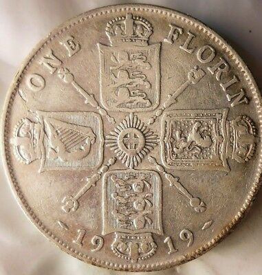 1919 GREAT BRITAIN FLORIN - Excellent Sharp Detailed Silver Coin - Lot #M15