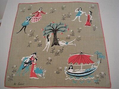 Vintage Pat Prichard Famous Lovers Hanky Handkerchief Adam Eve & More Signed