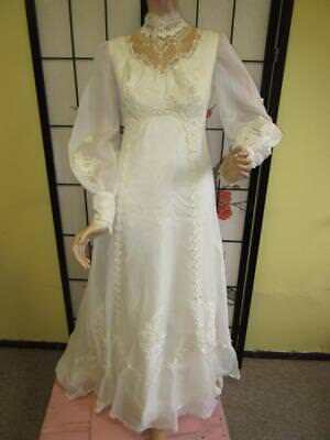 Fancy Vtg 70s Victorian BRIDAL CANDLELIGHT EMBROIDERED FLOWER LACE Wedding Dress
