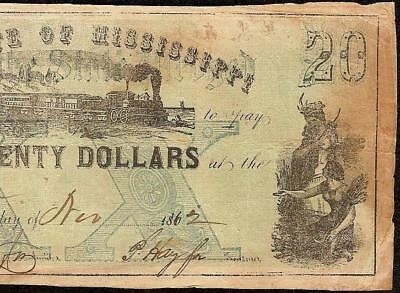 1862 $20 Dollar Faith Of The State Mississippi Note Large Currency Paper Money