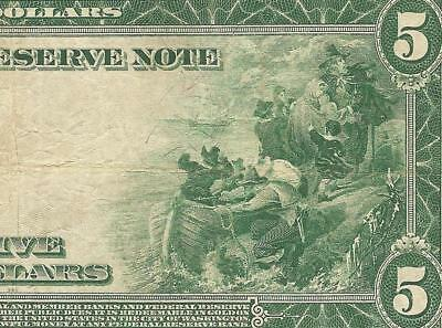 Large 1914 $5 Five Dollar Bill Federal Reserve Note Big Paper Money Currency 876