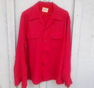 Vintage mello blend Rayon shirt large red cool