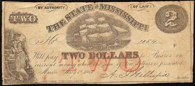 1864 $2 Two Dollar Bill Mississippi Nautical Ship Note Macon Old Paper Money