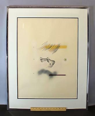 Vintage 1975 Signed Abstract Mixed-Media Collage Pencil Drawing & Painting