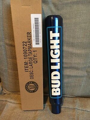 BUD LIGHT 12 inch Aluminum Authentic Blue Tap Handle Beer Bar Keg Budweiser NIB