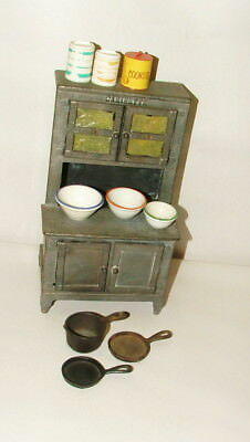"""%  Early 1900's Cast Iron Cabinette Salesman Sample Mini Toy 9"""" Tall"""