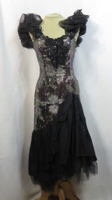 Vintage Dress 80s Gown Party Ruffle Prom Loralie Black Sequins Retro Mermaid