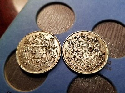 Lot Of 2 Canadian Silver 50 Cents 1940 & 1942