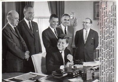 1961 President John F. Kennedy Social Security Bill Signed Wirephoto