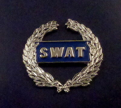 SWAT Uniform/Lapel Pin with WREATH Silver on Blue