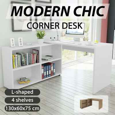 vidaXL Home Study Office Desk Computer Table w/ Bookcase Shelf Oak/White Modern