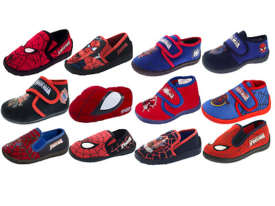 Boys Spiderman Slippers Mules Slip On Shoes Kids Character Novelty Booties Size