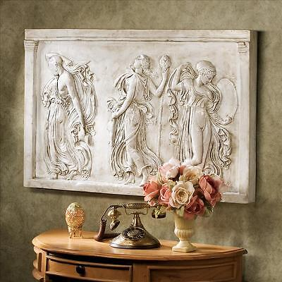 Magnificent Classical Muse Frieze Greek Ecstasy of Dance Muses Wall Sculpture