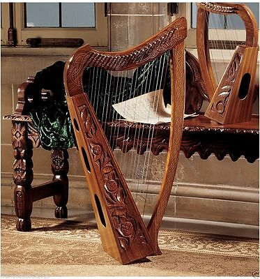Celtic Hand Carved Rosewood Harp 10th century Musical Instrument Replica