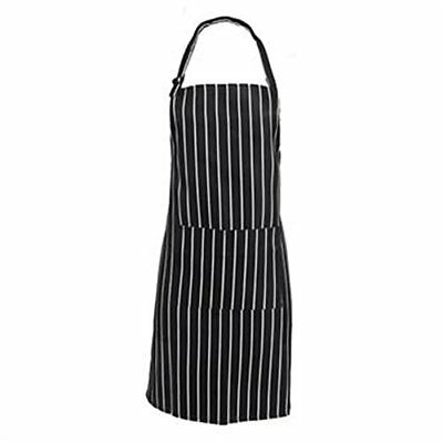 Catering Chef Cooks Butchers Bistro BBQ Apron Striped Cooking Baking Bib Pocket
