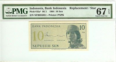 BANK INDONESIA 1964 10 SEN NOTE P-92a*   CERTIFIED BY PMG 67EPQ