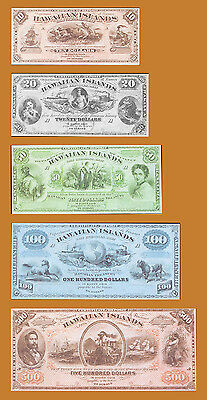 Hawaii, Kingdom, Faux Set (Reproduction) 10;20;50;100;500 Dollars, 1879