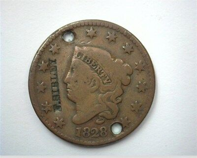 """1828 Coronet Head Large Cent With """"f. Sibley"""" Counter Struck"""