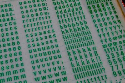 Mecanorma Dry Transfer Lettering A3 Green, #187 Universe 67: 12.7mm