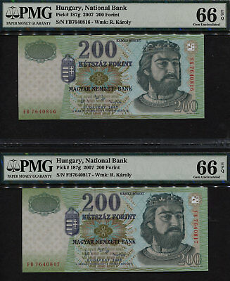 TT PK 187g 2007 HUNGARY 200 FORINT PMG 66Q SEQUENTIALLY NUMBERED SET OF 2 NOTES!
