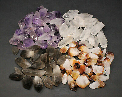 2000 Carat Bulk Mixed Amethyst + Citrine + Smokey +Clear Quartz Crystal Points