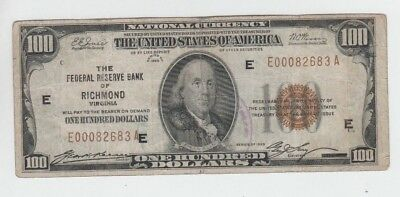 Federal Reserve Note FRBN $100 1929 lower grade