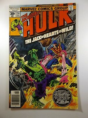 """The Incredible Hulk #214 """"Jack of Hearts is Wild!"""" VG Condition!!"""