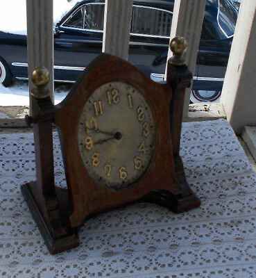 "RARE Vintage 8"" Wood New Haven Wind Up Shelf Mantle Clock Works 12 Day Jeweled"