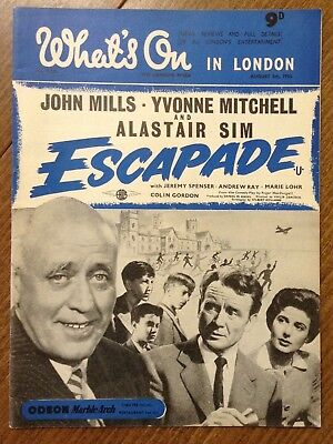 "Vintage magazine, "" What's on in London "" 1955. John Mills / Alastair Sim cover."