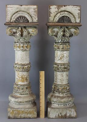 Pr Small Antique 19thC Carved & Painted Folk Art Architectural Wood Columns, NR