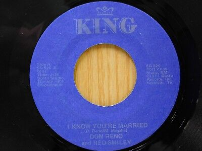 Don Reno & Red Smiley 45 I Know You're Married bw Beer Barrel Polka - King VG++