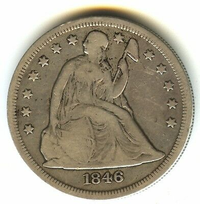 1846 O Seated Liberty Dollar Fine In Grade Scarce New Orleans Mint Issue