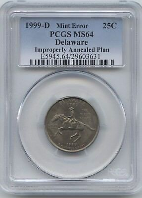 Delaware 25¢ Mis-Annealed Plan. Pcgs Ms-64